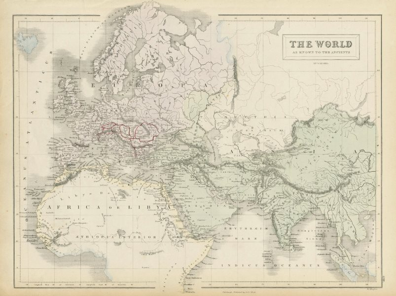 Associate Product The World as known to the Ancients, by WILLIAM HUGHES 1856 old antique map