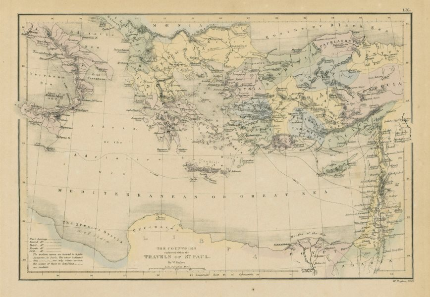 Associate Product Countries embraced within the travels of St Paul. Mediterranean. HUGHES 1856 map