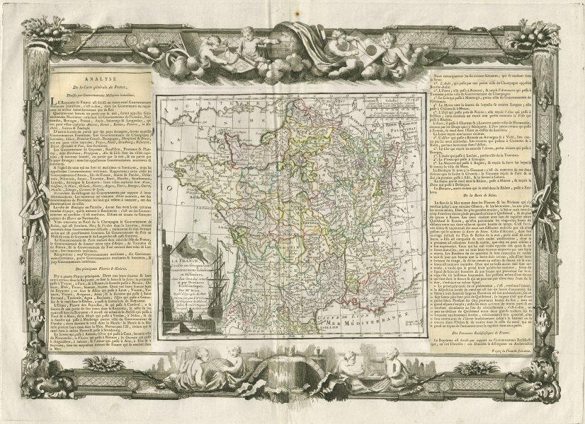 """Associate Product """"La France divisée en… Gouvernemens"""". DESNOS/DE LA TOUR 1771 old antique map"""