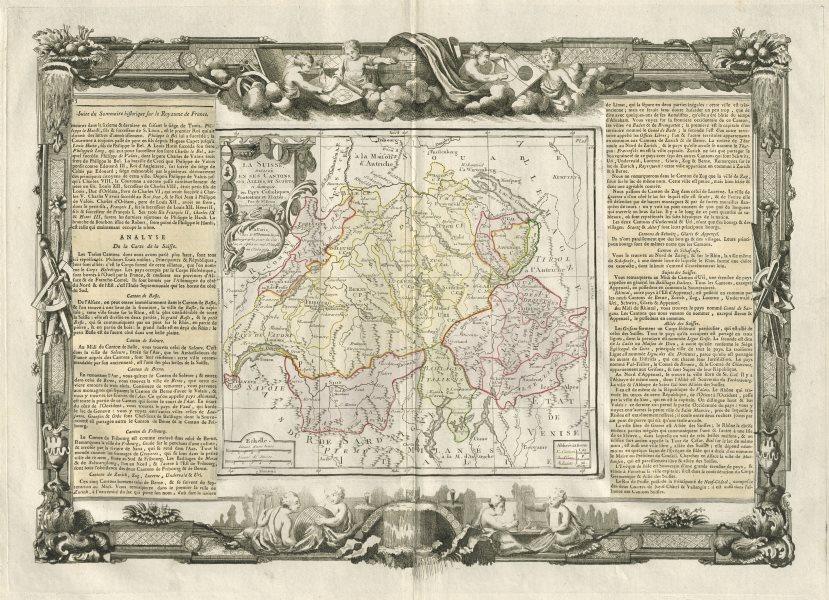 """Associate Product """"La Suisse"""". Switzerland. DESNOS/DE LA TOUR 1771 old antique map plan chart"""