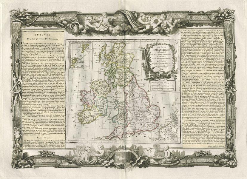 """Les Isles Britanniques"". British Isles. DESNOS/DE LA TOUR 1771 old map"