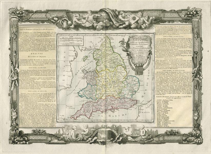 """Associate Product """"L'Angleterre divisée en 5 grandes parties"""". England. DESNOS/DE LA TOUR 1771 map"""