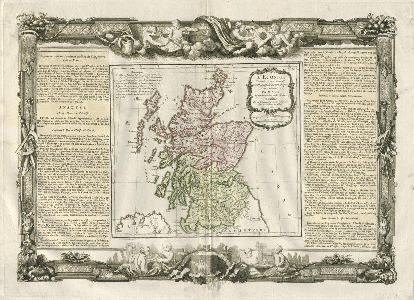 """""""L'Ecosse"""". Scotland. DESNOS/DE LA TOUR 1771 old antique map plan chart"""