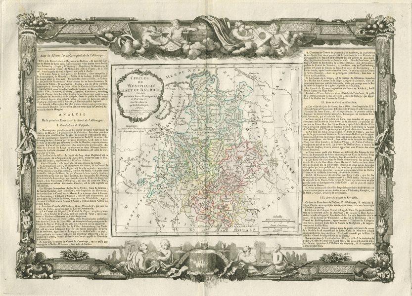 """Associate Product """"Cercles de Westphalie, Haut et Bas Rhin"""". Germany. DESNOS/DE LA TOUR 1771 map"""