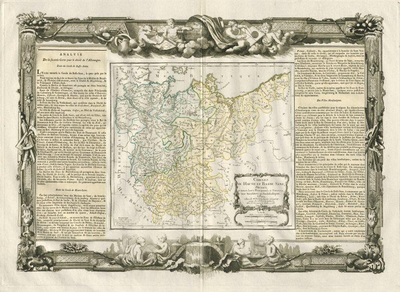 """Associate Product """"Cercles de Haute et Basse Saxe"""" Lower & Upper Saxony DESNOS/DE LA TOUR 1771 map"""