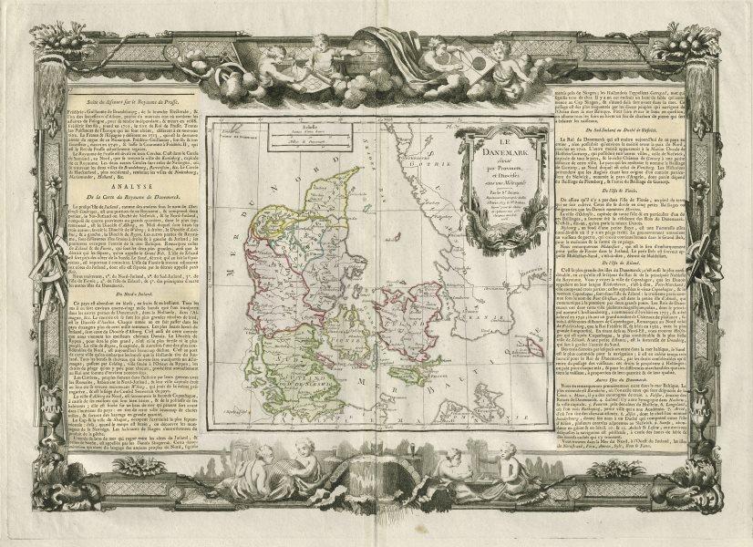 """Associate Product """"Le Danemark divisé par provinces…"""". Denmark. DESNOS/DE LA TOUR 1771 old map"""