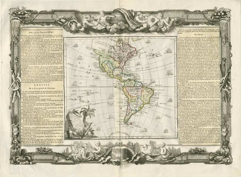 """Associate Product """"L'Amérique dressée…"""" North & South Americas. DESNOS/DE LA TOUR 1771 old map"""