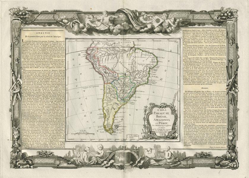 Associate Product Chili, Paraguay, Brésil, Amazones et Pérou. S America DESNOS/DE LA TOUR 1771 map