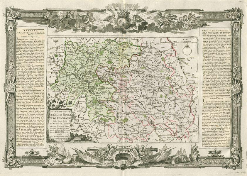 """Associate Product """"L'Isle de France et de Champagne"""". Île-de-France. DESNOS/DE LA TOUR 1771 map"""