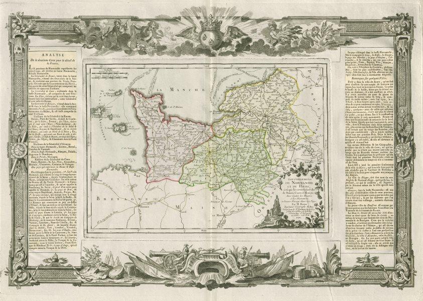 """Associate Product """"Gouvernemens de Normandie et du Havre"""". Normandy. DESNOS/DE LA TOUR 1771 map"""