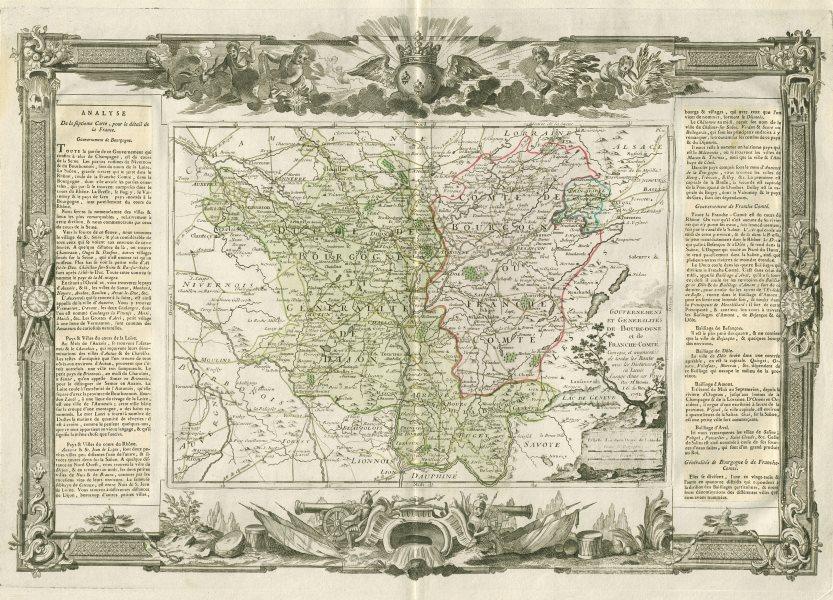 """Associate Product """"Gouvernemens… de Bourgogne et de Franche-Comté"""". DESNOS/DE LA TOUR 1771 map"""