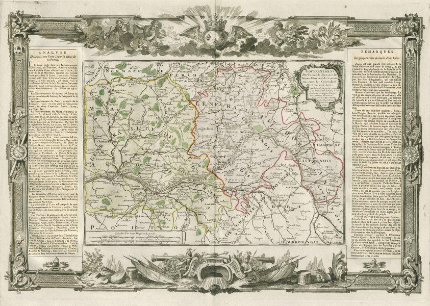 Associate Product Orléanois, Touraine, Maine, Anjou & Saumurois. Loire. DESNOS/DE LA TOUR 1771 map