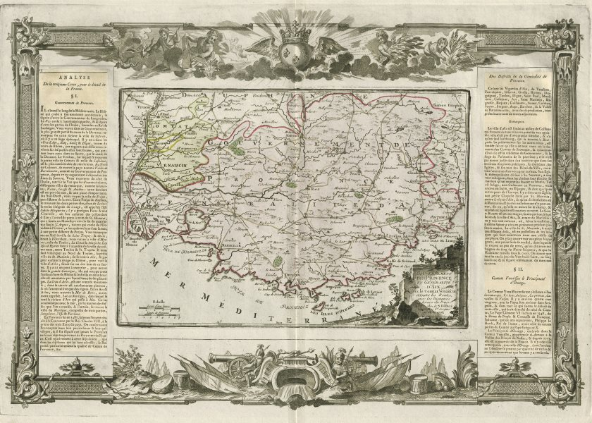 """""""Gouvernement de Provence et Généralite d'Aix"""". DESNOS/DE LA TOUR 1771 old map"""