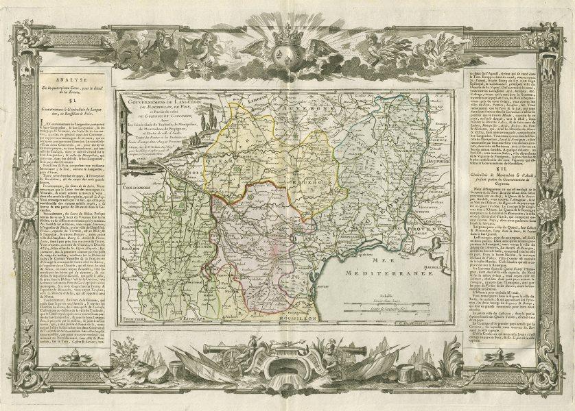 """Associate Product """"Gouvernemens de Languedoc de Roussillon…"""" Occitanie. DESNOS/DE LA TOUR 1771 map"""