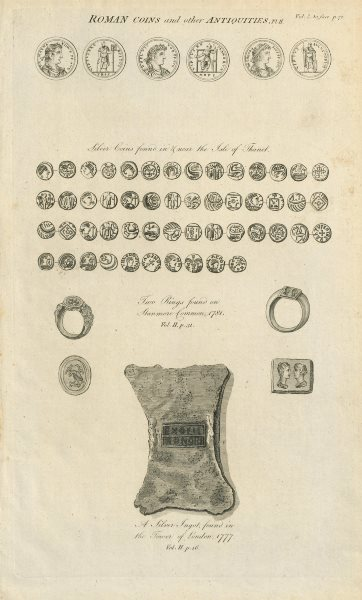 Associate Product Roman coins Isle of Thanet. Rings Stanmore Common. Ingot Tower of London 1789