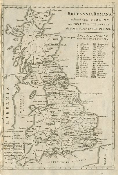 """Associate Product """"Britannia Romana, collected from Ptolemy…"""". Roman Britain. John CARY 1789 map"""