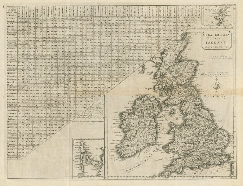 """Associate Product """"Great Britain and Ireland with ye Judges circuits"""" by John CARY 1789 old map"""