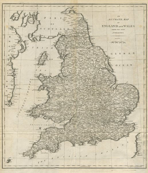 """Associate Product """"An accurate map of England and Wales from the best authorities"""". CARY 1789"""