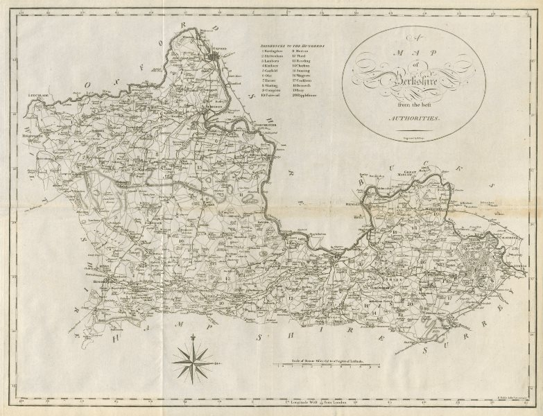 """Associate Product """"A map of Berkshire from the best authorities"""". County map. CARY 1789 old"""