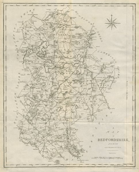 """""""A map of Bedfordshire from the best authorities"""". County map. CARY 1789"""