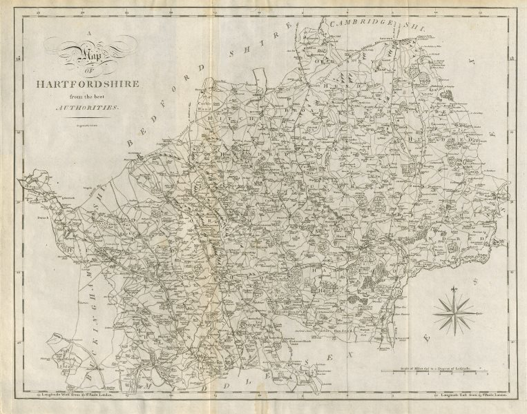 """Associate Product """"Hartfordshire from the best authorities"""". Hertfordshire county map. CARY 1789"""