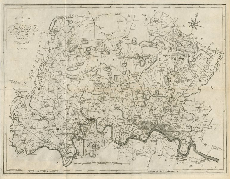 """Associate Product """"A map of Middlesex from the best authorities"""". County map. CARY 1789 old"""