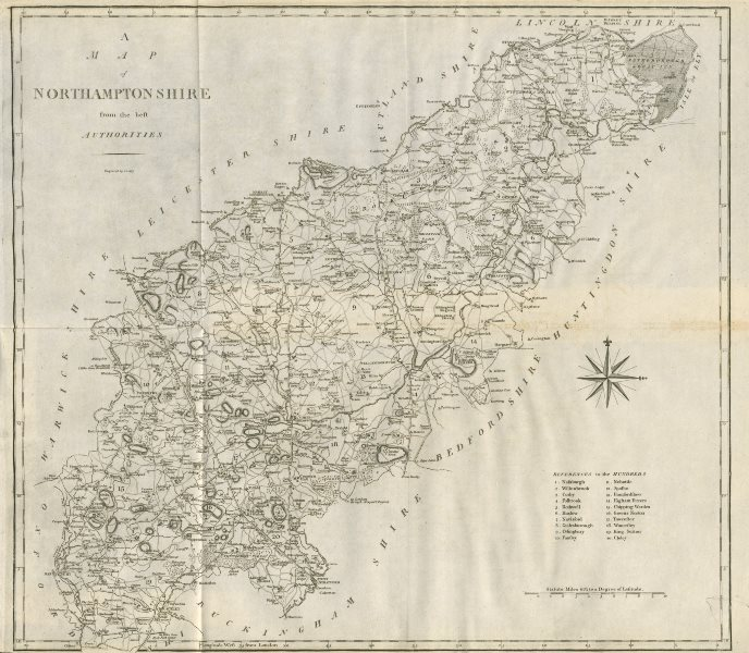 """Associate Product """"A map of Northamptonshire from the best authorities"""". County map. CARY 1789"""