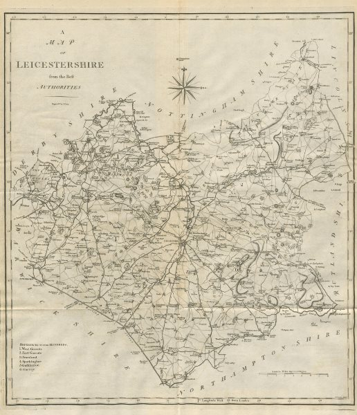 """""""A map of Leicestershire from the best authorities"""". County map. CARY 1789"""