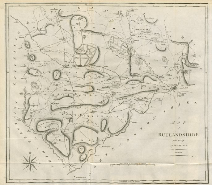 """Associate Product """"A map of Rutlandshire from the best authorities"""". County map. CARY 1789"""