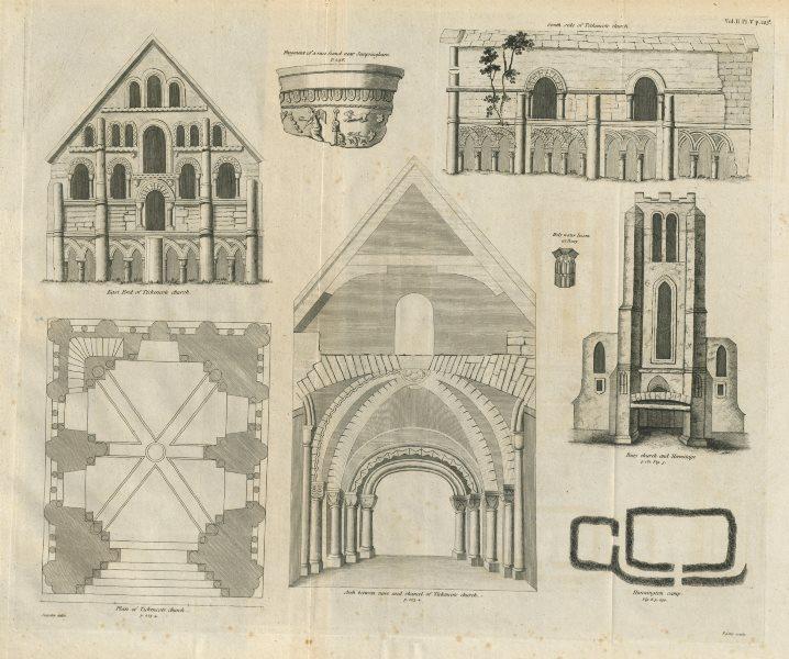 St Peter's Church, Tickencote, Rutland. & Bury church 1789 old antique print