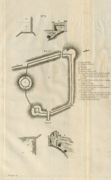Associate Product Lincoln castle No 1. Ground plan by Francis CARY 1789 old antique print