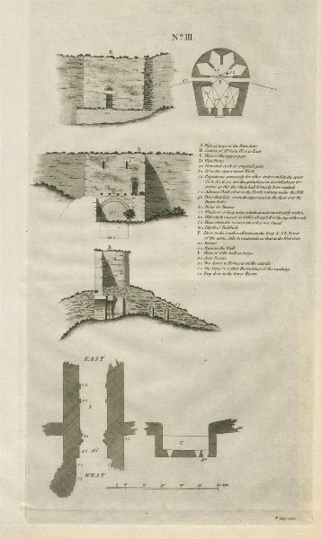 Associate Product Lincoln castle No 3. Plan & elevation by Francis CARY 1789 old antique print