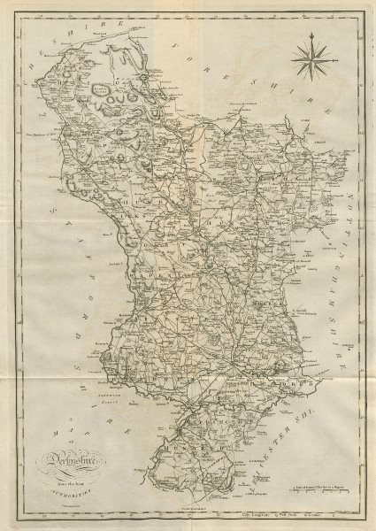 """Associate Product """"A map of Derbyshire from the best authorities"""". County map. CARY 1789 old"""