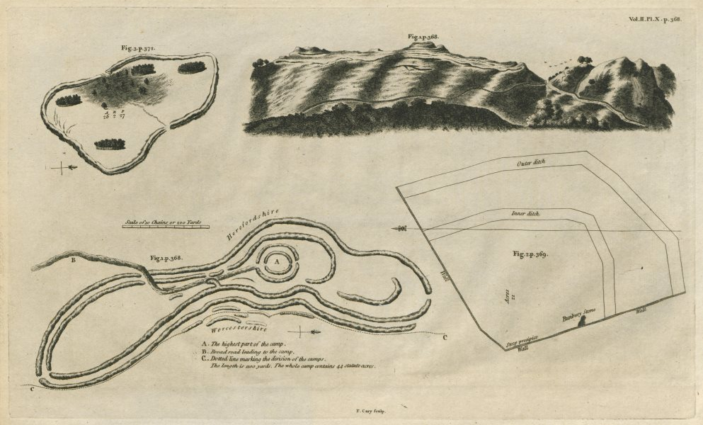 """Associate Product """"British Camp, Herefordshire Beacon"""". Iron Age Hill Fort. CARY 1789 old map"""