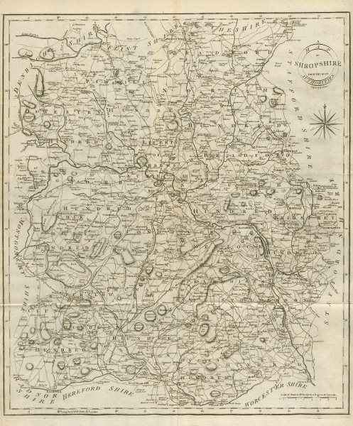 """Associate Product """"A map of Shropshire from the best authorities"""". County map. CARY 1789 old"""