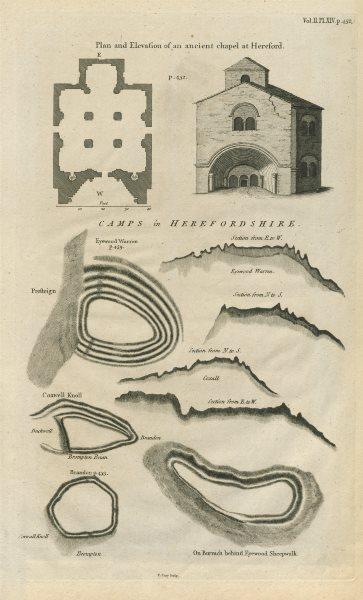 Associate Product Herefordshire Iron Age/Roman camps Brandon Coxwell Knoll Eyewood Warren 1789 map
