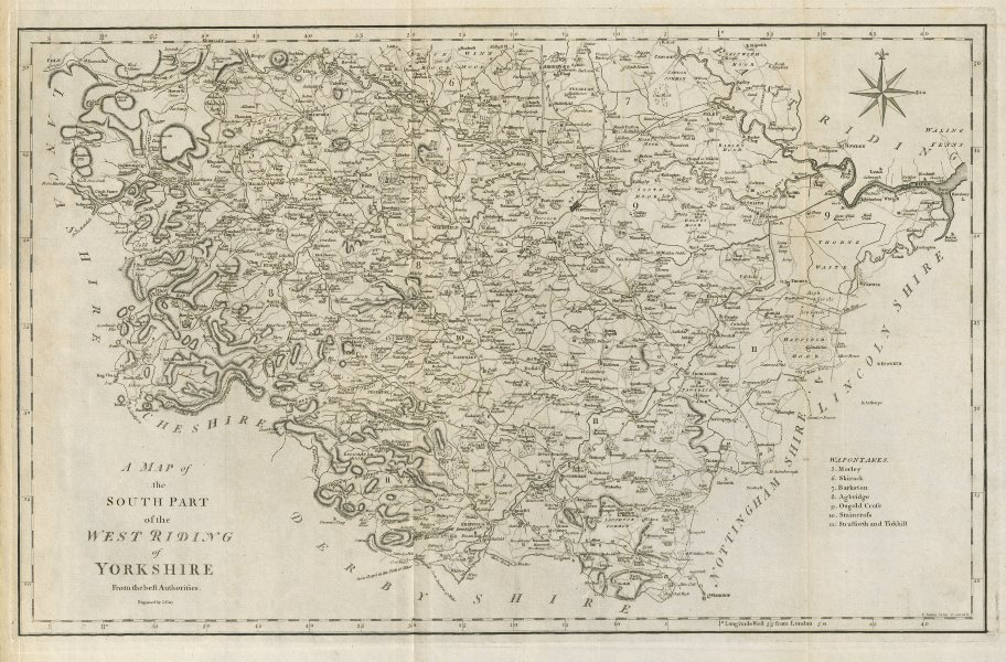 """Associate Product """"A map of the South part of the West Riding of Yorkshire…"""" by John CARY 1789"""