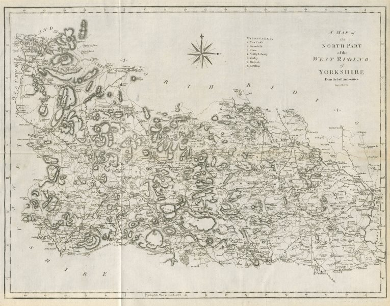 """Associate Product """"A map of the North part of the West Riding of Yorkshire…"""" by John CARY 1789"""
