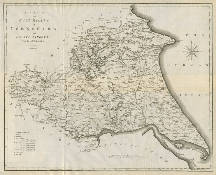 Associate Product A map of the East Riding of Yorkshire with Ainsty Liberty by John CARY 1789