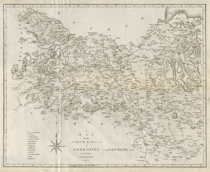 """Associate Product """"A map of the North Riding of Yorkshire"""" by John Cary. County map 1789 old"""