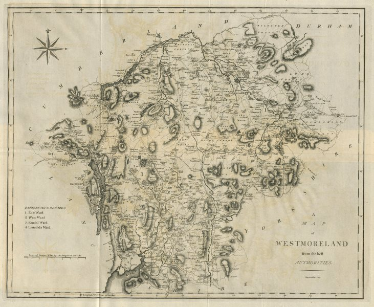 """Associate Product """"A map of Westmoreland from the best authorities"""". County map. CARY 1789"""