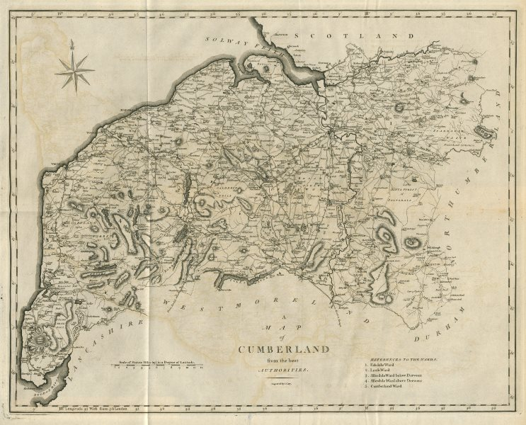 Associate Product A map of Cumberland from the best authorities. Cumbria county map. CARY 1789