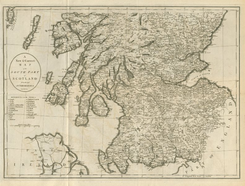 """Associate Product """"A new & correct map of the South part of Scotland…"""" by John CARY 1789 old"""