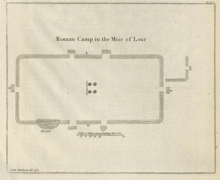 """Associate Product """"Roman Camp in the Muir of Lour"""". Kirkbuddo, Forfar, Scotland 1789 old map"""