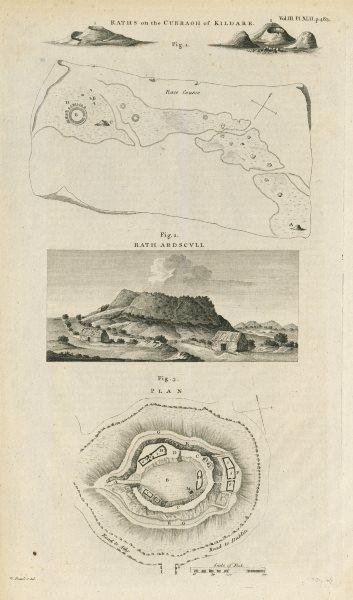 Associate Product Raths, Curragh of Kildare. Rath Ardscull, nr Athy. Hy Caellan McKelly 1789 map