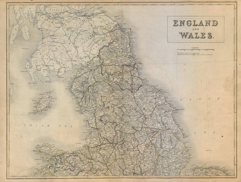 Associate Product England and Wales. North sheet. Railways. SIDNEY HALL c1845 old antique map
