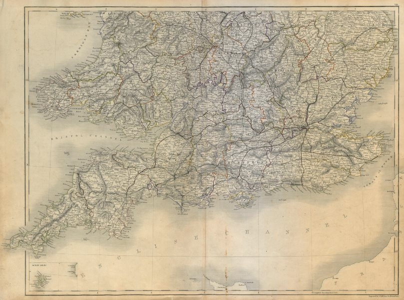 Associate Product England and Wales. South sheet. Railways. SIDNEY HALL c1845 old antique map