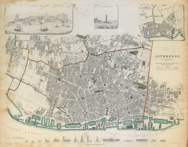 Associate Product LIVERPOOL. Antique town city map.Inset view & plan in 1729. Buildings.SDUK c1844