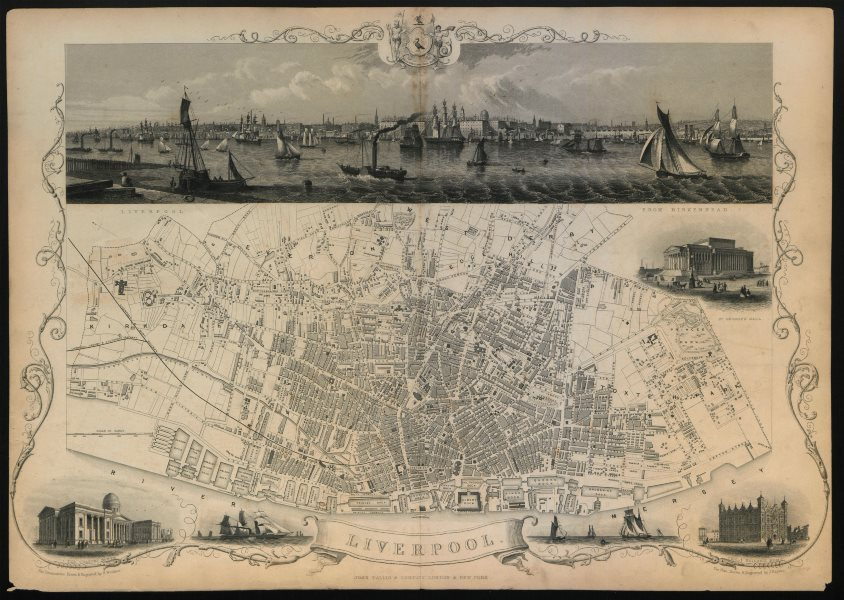 Associate Product Decorative antique town plan of LIVERPOOL by Tallis, Rapkin & Winkles 1851 map