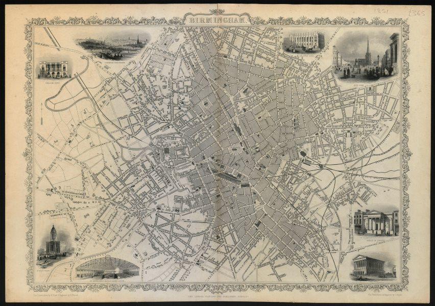 Associate Product Decorative antique town plan of BIRMINGHAM by Tallis & Rapkin 1851 old map